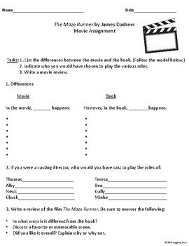 Movie Handouts for the Novel The Maze Runner by James Dashner