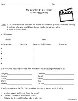 Movie Handouts for the Novel The Outsiders by S.E. Hinton