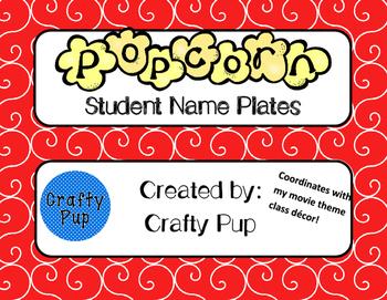 Movie Hollywood Popcorn Theme Name Plates