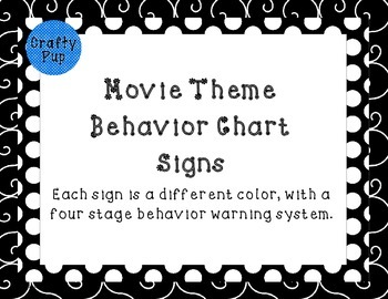 Movie Hollywood Theme Behavior Management Signs