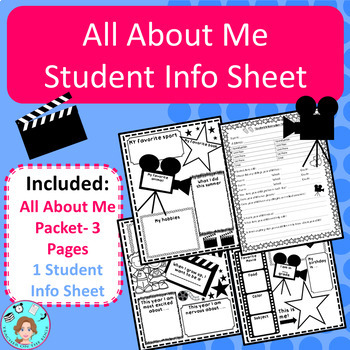 Movie/Hollywood Themed Back to School Packet – 3 Editable