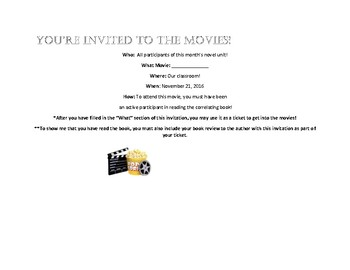 Movie Invitation for Novel Study or Literature Focus Unit