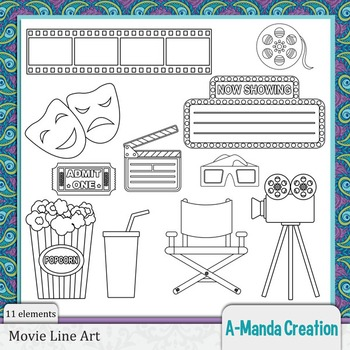 Movie Line Art and Digital Stamps