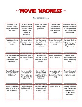 Movie Madness - Icebreaker - Getting to Know You activity