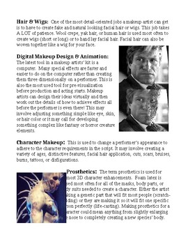 Movie Makeup and Prosthetics Art Lesson Papers