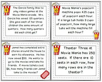 Movie Mania Division Task Cards 4.NBT.6