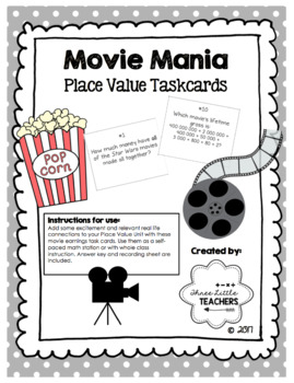 Movie Mania - Place Value Task Cards