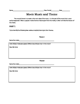 Movie Music and Theme Listening Worksheet
