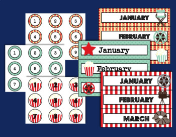 Movie Night Calendar and Days of the Week Chart