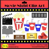 Movie Night Clip Art {Color & Black Line}