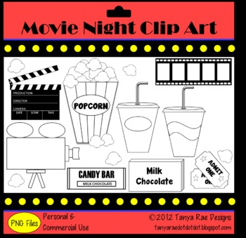 Movie Night Clip Art {Color & Black Line}