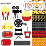 Movie Night Clip art (director chair, popcorn, film ,ticket)