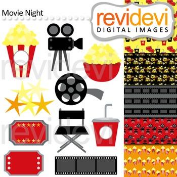 Movie Night Clip art (director chair, popcorn, film ,ticket)