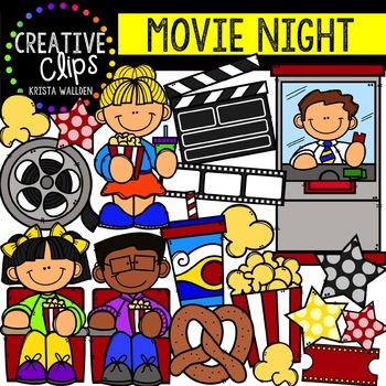 Movie Night Clipart {Creative Clips Clipart}