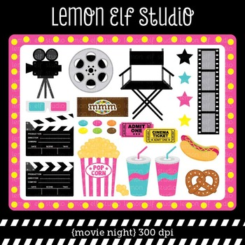 Movie Night-Digital Clipart (LES.CL27B)