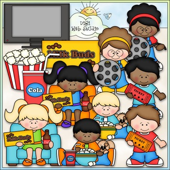 Movie Night Kids Clip Art - Watching Movies Clip Art - CU Clip Art & B&W