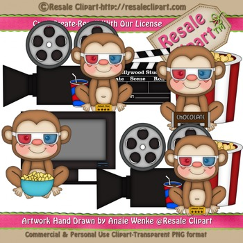 Movie Night Monkey Boys ClipArt - Commercial Use