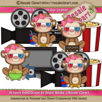 Movie Night Monkey Girls ClipArt - Commercial Use