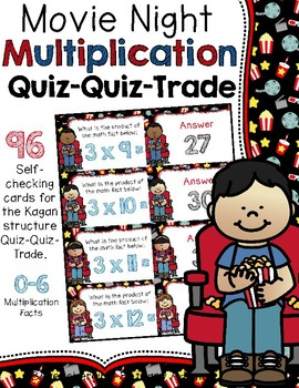 Movie Night Multiplication ~ Facts 0-6 ~ Quiz-Quiz-Trade Cards