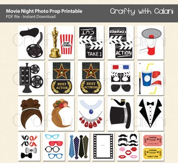 Movie Night Party Photo Booth Prop, Academy Award Party Photo Booth Prop