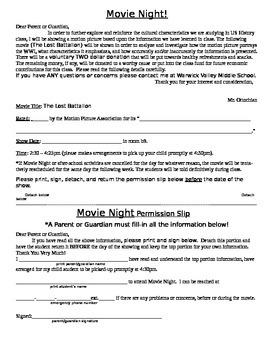 Movie Night Permission Slip