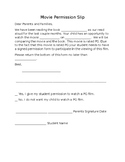 Movie Permission Slip (Editable)