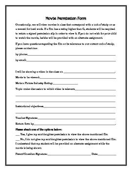 Movie Permission Slip Form