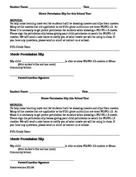 Movie Permission slips