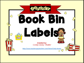 Movie Popcorn Classroom Library Book Bin / Basket Labels