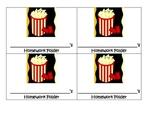 Movie Popcorn Homework Folder Labels- Hollywood theme