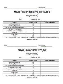 Movie Poster Novel Study Project
