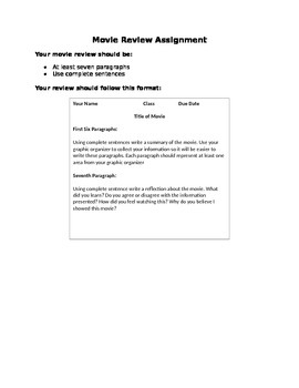 Movie Review Graphic Organizer and Essay Assignment