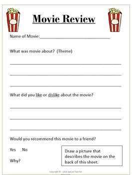 Movie Review Handouts