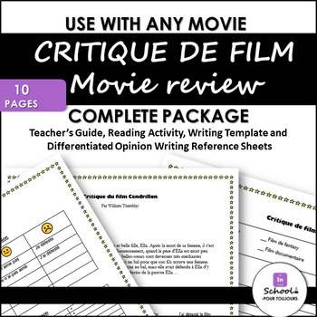 Movie Reviews- Reading and Writing Opinions in FRENCH- FULL Package