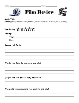 movie review template by lisa gerardi teachers pay teachers. Black Bedroom Furniture Sets. Home Design Ideas