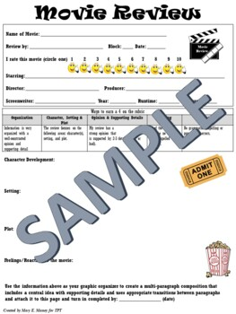 Movie Review Template and Graphic Organizer