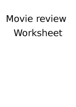 Movie Review Worksheet (Editable)