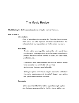Movie Review writing guidlines