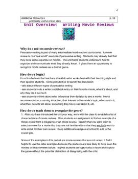 Movie Reviews:  Resources for a Genre Study