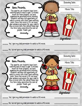Movie Reward: Companion Worksheets for Any Movie & PG Rating Permission Slip