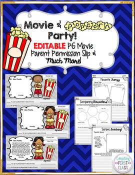 Movie Reward: Companion Worksheets for Any Movie & PG Rating Permission Slip