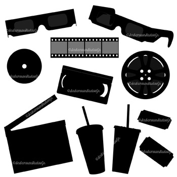 Movie Silhouette Clipart, Commercial Use Digital Graphics