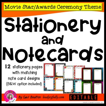 Movie Star-Awards Ceremony Themed EDITABLE Stationery with Matching Note Cards