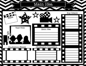 Movie Star Main Idea Graphic Organizers with Illustration
