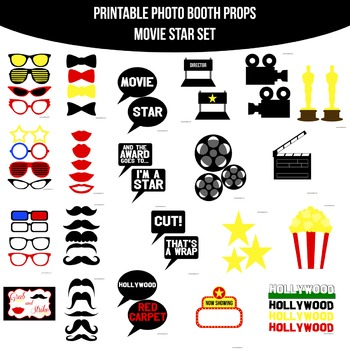 Movie Star Printable Photo Booth Prop Set