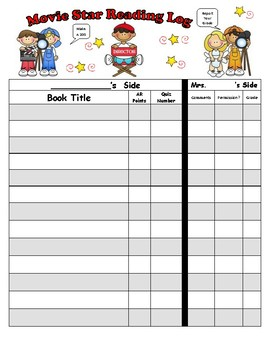 Movie Star / Theater Themed Reading Log