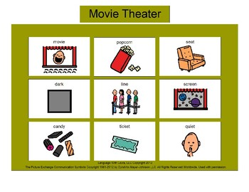 Movie Theater Bingo! Single Board [speech therapy and autism]