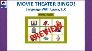 Movie Theater Bingo! Multiple Boards [speech therapy and autism]