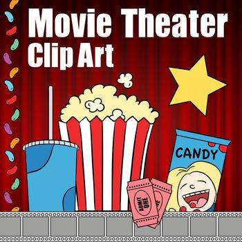 Movie Theater Clip Art, Theatre Clipart -- Popcorn, Soda, Candy Border, Tickets