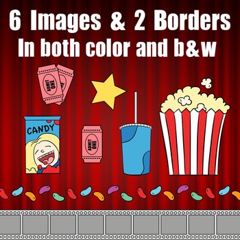 Movie Theater Clip Art Theatre Clipart Popcorn Soda Candy Border Tickets